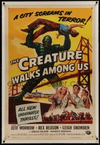 1m079 CREATURE WALKS AMONG US linen 1sh 1956 Reynold Brown art of monster over Golden Gate Bridge!