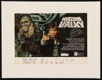 1m015 STAR WARS linen Czech 9x12 1991 George Lucas classic, different c/u of Han Solo & Chewbacca!