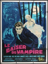 1m005 KISS OF THE VAMPIRE linen French 1p 1963 Hammer, different horror art by Guy Gerard Noel!
