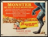1m042 20 MILLION MILES TO EARTH linen style B 1/2sh 1957 creature invades Earth, cool monster art!