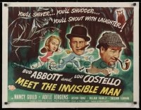 1m043 ABBOTT & COSTELLO MEET THE INVISIBLE MAN linen 1/2sh 1951 art of Bud & Lou running from him!