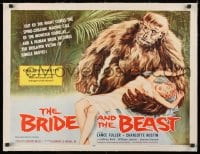 1m045 BRIDE & THE BEAST linen 1/2sh 1958 Ed Wood classic, wacky art of huge ape holding sexy girl!
