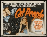 1m047 CAT PEOPLE linen 1/2sh R1952 Val Lewton, full-length sexy Simone Simon by black panther!