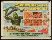 1m048 CREATURE WALKS AMONG US linen 1/2sh 1956 great Reynold Brown art of monster throwing man!