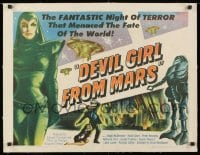 1m049 DEVIL GIRL FROM MARS linen 1/2sh 1955 Earth menaced by fantastic powers, sexy female alien!
