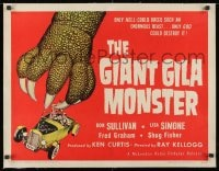 1m051 GIANT GILA MONSTER linen 1/2sh 1959 classic art of monster hand grabbing teens in hot rod!