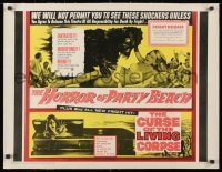 1m052 HORROR OF PARTY BEACH/CURSE OF THE LIVING CORPSE linen 1/2sh 1964 great monster images!