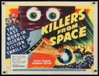 1m053 KILLERS FROM SPACE linen 1/2sh 1954 great full-color image, much better than 1-sheet!
