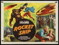 1m054 ROCKET SHIP linen 1/2sh R1950 Buster Crabbe as Flash Gordon w/alien