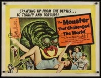 1m055 MONSTER THAT CHALLENGED THE WORLD linen 1/2sh 1957 great artwork of creature & its victim!
