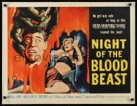 1m056 NIGHT OF THE BLOOD BEAST linen 1/2sh 1958 art of sexy girl & monster hand holding severed head!