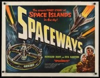 1m058 SPACEWAYS linen 1/2sh 1953 Terence Fisher, Hammer sci-fi, space islands in the sky!