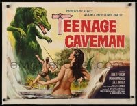 1m061 TEENAGE CAVEMAN linen 1/2sh 1958 sexy art of prehistoric rebels against prehistoric monsters!