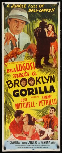 1m035 BELA LUGOSI MEETS A BROOKLYN GORILLA linen insert 1952 it will stiffen you with laughter!