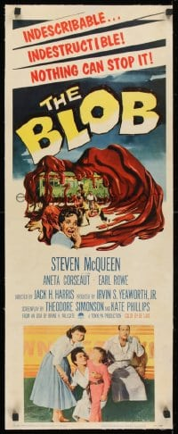1m036 BLOB linen insert 1958 Steve McQueen, cool art of the indescribable & indestructible monster!