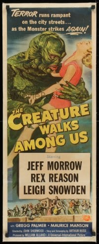 1m038 CREATURE WALKS AMONG US linen insert 1956 Reynold Brown art of monster grabbing sexy blonde girl!