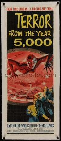 1m040 TERROR FROM THE YEAR 5,000 linen insert 1958 wonderful art of the hideous she-thing!