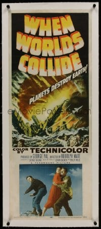 1m041 WHEN WORLDS COLLIDE linen insert 1951 George Pal doomsday classic, planets destroy Earth!