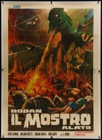 1m007 RODAN linen Italian 1p R1968 Sora no Daikaiju Radon, art of the Flying Monster ravaging city!