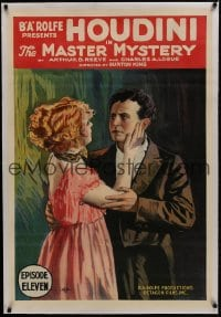 1m110 MASTER MYSTERY linen chapter 11 1sh 1919 magic serial, Harry Houdini's 1st movie, ultra rare!
