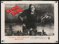 1m034 KING KONG linen 19x25 special poster R1952 best image of ape w/Fay Wray over New York skyline!