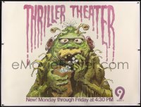 1m008 THRILLER THEATER TV linen subway poster 1971 Jack Davis art of monster eating popcorn, rare!