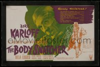1m026 BODY SNATCHER linen English trade ad 1945 Boris Karloff c/u & robbing body from graveyard!