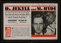 1m028 DR. JEKYLL & MR. HYDE signed linen trade ad 1931 by BOTH Rouben Mamoulian AND Karl Struss!