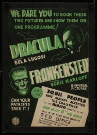 1m029 DRACULA/FRANKENSTEIN linen English trade ad 1940s Boris Karloff & Bela Lugosi classic double-bill!