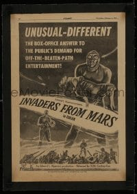 1m031 INVADERS FROM MARS linen trade ad 1953 unusual - different, off-the-beaten-path, great art!