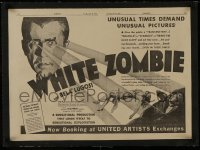 1m033 WHITE ZOMBIE linen trade ad 1932 art of Bela Lugosi, unusual times demand unusual pictures!