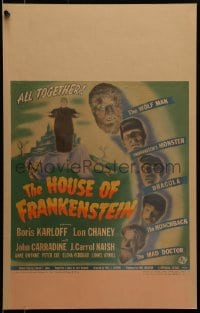 1m223 HOUSE OF FRANKENSTEIN WC 1944 Boris Karloff & all top monster stars in make-up, ultra rare!