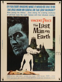 1p046 LAST MAN ON EARTH 30x40 1964 AIP, Vincent Price among the lifeless, cool Reynold Brown art!