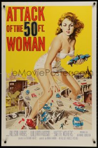 1p035 ATTACK OF THE 50 FT WOMAN S2 Re-Creation 1sh 2002 art of enormous Allison Hayes over highway!