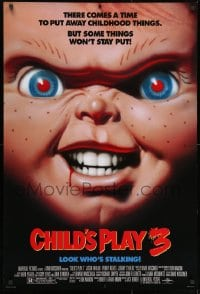 1p109 CHILD'S PLAY 3 DS 1sh 1991 cool super close-up of terrifying doll Chucky!