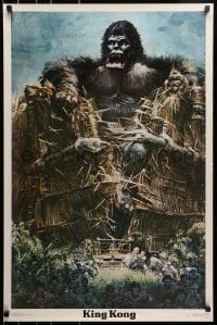 1p049 KING KONG 23x35 commercial poster 1976 art of the BIG Ape tearing up wall by John Berkey!