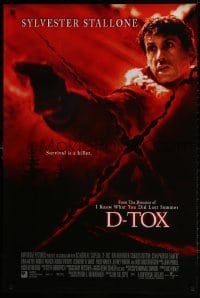 1p113 D-TOX int'l DS 1sh 2001 great image of Sylvester Stallone pointing gun, survival is a killer!