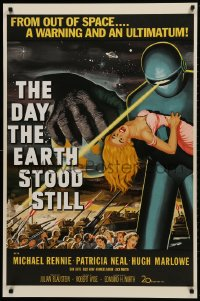 1p036 DAY THE EARTH STOOD STILL S2 Re-Creation 1sh 2001 classic art of Gort holding Patricia Neal!