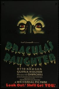 1p032 DRACULA'S DAUGHTER S2 Re-Creation 1sh 2000 Gloria Holden in title role, great close-up art!