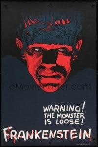 1p025 FRANKENSTEIN teaser S2 Re-Creation 1sh 2000 best artwork of Boris Karloff as the monster!