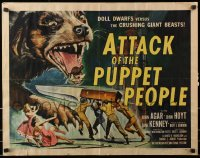 1p055 ATTACK OF THE PUPPET PEOPLE 1/2sh 1958 Brown art of tiny people w/ knife attacking dog!