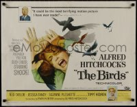 1p056 BIRDS 1/2sh 1963 director Alfred Hitchcock shown, Tippi Hedren, classic attack artwork!