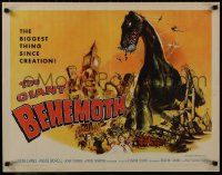 1p061 GIANT BEHEMOTH 1/2sh 1959 cool art of massive brontosaurus dinosaur monster smashing city!