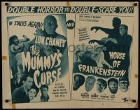 1p065 HOUSE OF FRANKENSTEIN/MUMMY'S CURSE 1/2sh 1945 double horror to double-scare you, very rare!
