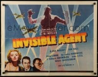 1p067 INVISIBLE AGENT 1/2sh 1942 fx image of invisible man with WWII airplanes, Peter Lorre