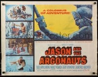 1p068 JASON & THE ARGONAUTS 1/2sh 1963 great special effects by Ray Harryhausen, art of colossus!