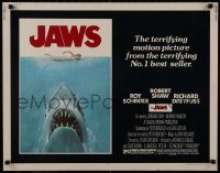 1p069 JAWS 1/2sh 1975 art of Steven Spielberg's classic man-eating shark attacking sexy swimmer!