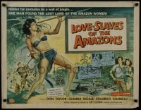 1p072 LOVE-SLAVES OF THE AMAZONS 1/2sh 1957 Reynold Brown art of sexy female native with spear!