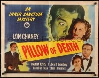 1p075 PILLOW OF DEATH 1/2sh 1945 art of Lon Chaney Jr, Universal Inner Sanctum mystery thriller!