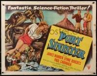 1p076 PORT SINISTER style B 1/2sh 1953 great art of man shooting at giant crab attacking bound girl!